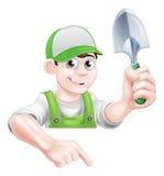 Cartoon Garden Man with Trowel Royalty Free Stock Photo