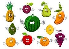 Cartoon garden and tropical fruits Stock Photo