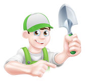Cartoon Gardener Character Pointing Stock Photography