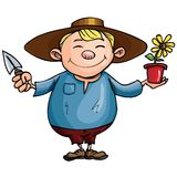 Cartoon gardener with pot plant Royalty Free Stock Photo