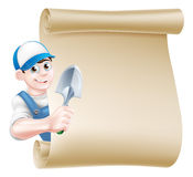 Cartoon Gardener Scroll Man Royalty Free Stock Images