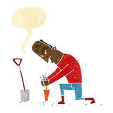 Cartoon gardener with speech bubble Royalty Free Stock Images