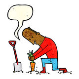 Cartoon gardener with speech bubble Stock Image