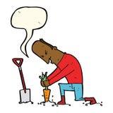 Cartoon gardener with speech bubble Stock Photography