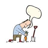 Cartoon gardener with speech bubble Stock Images