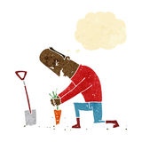 Cartoon gardener with thought bubble Stock Images