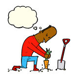 Cartoon gardener with thought bubble Royalty Free Stock Image