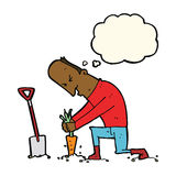 Cartoon gardener with thought bubble Stock Photo