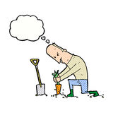 Cartoon gardener with thought bubble Royalty Free Stock Photo