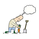 Cartoon gardener with thought bubble Royalty Free Stock Images