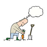 Cartoon gardener with thought bubble Royalty Free Stock Photos