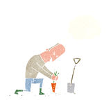 Cartoon gardener with thought bubble Stock Photography