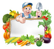 Cartoon Gardener Vegetables Sign Royalty Free Stock Image