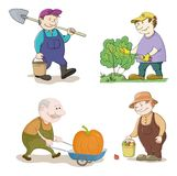 Cartoon: gardeners work. Cartoon Gardeners Work, With a Bucket and Spade, Cuts a Bush with Secateurs, Carries Trolley with Pumpkin, with the Harvest of Apples Royalty Free Stock Image