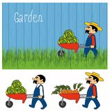 Cartoon gardeners work. Set cartoon character farmers with a crop of vegetables stock illustration