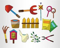 Cartoon Gardening icon set Stock Image