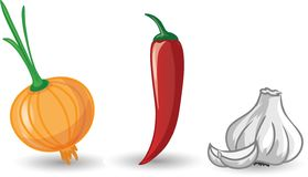 Cartoon garlic, onion and pepper vector Royalty Free Stock Photo