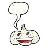 cartoon garlic with speech bubble Stock Photo