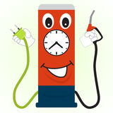 Cartoon gas station with a filling nozzle and electric plug  Stock Images