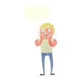 Cartoon gasping man with speech bubble Royalty Free Stock Photography