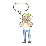 Cartoon gasping man with speech bubble Stock Photo