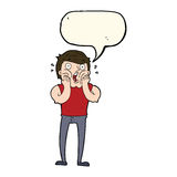 Cartoon gasping man with speech bubble Royalty Free Stock Images
