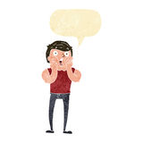 Cartoon gasping man with speech bubble Royalty Free Stock Photo