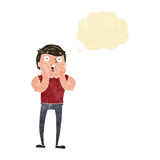 Cartoon gasping man with thought bubble Stock Photos
