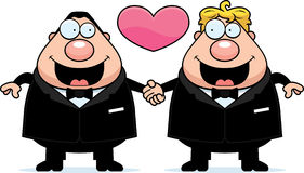 Cartoon Gay Marriage. A cartoon illustration of a gay couple holding hands and in love Stock Photo
