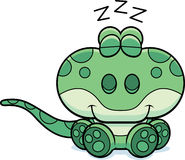 Cartoon Gecko Napping Stock Image
