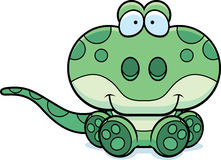 Cartoon Gecko Sitting Stock Images