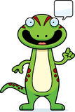 Cartoon Gecko Talking Stock Image