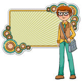 Cartoon geek. On a retro style frame Stock Photos