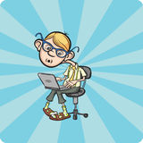 Cartoon geek boy sitting with laptop Royalty Free Stock Photo