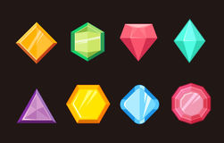 Cartoon gems jewels diamond brilliant vector set Royalty Free Stock Photo