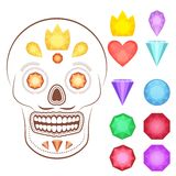 Cartoon gems and precious stones icons set. Collection of vector glossy and bright cartoon gems stones, diamonds, minerals, rubies, emeralds. Could be used as Royalty Free Stock Image