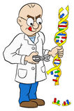 Cartoon geneticist who makes genetic manipulation Royalty Free Stock Images