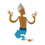 Cartoon genie character magic lamp flat vector illustration treasure arabian aladdin miracle djinn coming out on white Stock Photography