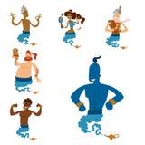 Cartoon genie character magic lamp vector illustration treasure aladdin miracle djinn coming out isolated legend set vector illustration