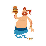 Cartoon genie djinn character magic lamp flat vector illustration treasure arabian aladdin miracle hamburger coming out Stock Images
