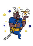 Cartoon genie with lamp Royalty Free Stock Photo