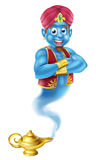 Cartoon Genie and Lamp. A Cartoon Genie like in the story of Aladdin coming out of a magic lamp Stock Photo
