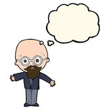 Cartoon genius scientist with thought bubble Royalty Free Stock Images