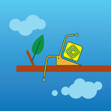 Cartoon geometric snail on a tree branch Royalty Free Stock Photography
