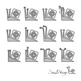 Cartoon geometric snails expression set Royalty Free Stock Image