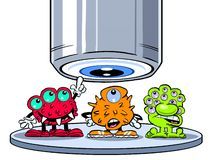 Cartoon germs under microscope Royalty Free Stock Image