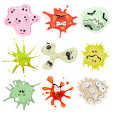 Cartoon Germs, Virus And Microbes Stock Image