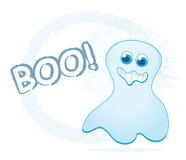 Cartoon ghost. Cute cartoon ghost with BOO! text isolated on white royalty free illustration