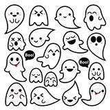 Cute  ghosts icons, Halloween design set, Kawaii black stroke ghost collection on white background Royalty Free Stock Photo
