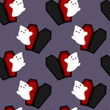 Cartoon ghost and coffin halloween seamless pattern background illustration Royalty Free Stock Photography